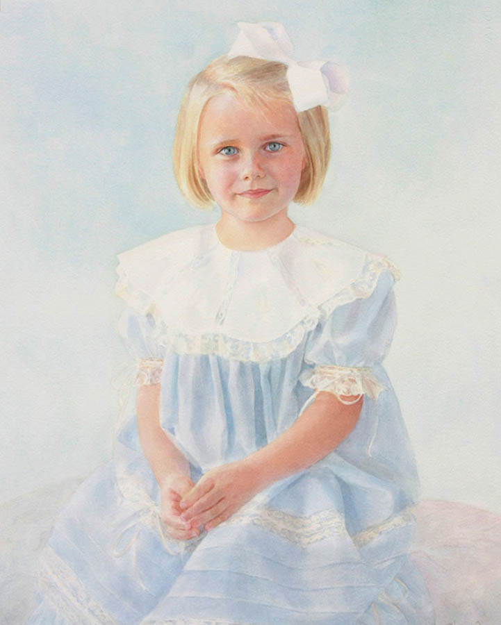 watercolor painting of a young girl in a blue dress