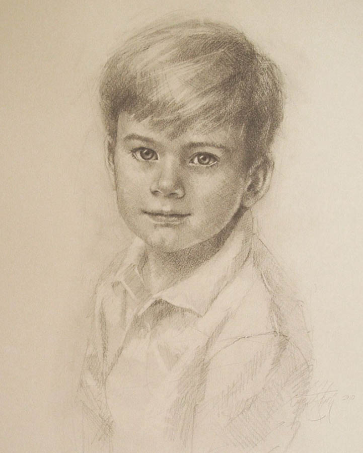 charcoal sketch on paper of a young boy